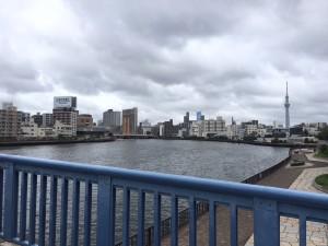 「今まで経験した事のない台風が最接近する前に隅田川沿いから江東区森下界隈をランしました」