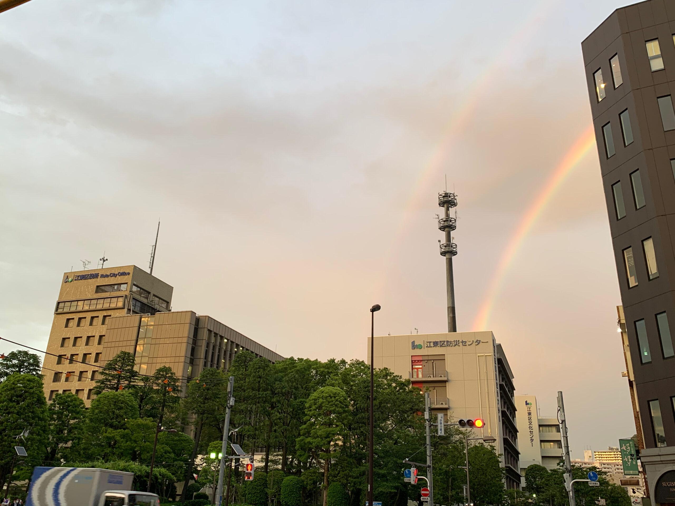 一昨日は見事な半円形を描いた素晴らしい虹を江東区界隈でも見る事が出来ました